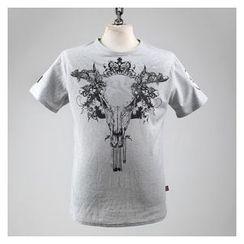 Green Banana - Round-Neck Short-Sleeve Bull Print Slim-Fit T-Shirt