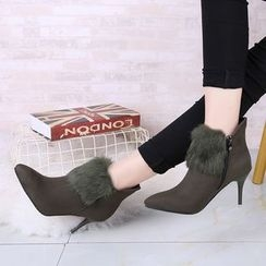Zandy Shoes - Furry-Trim High Heel Ankle Boots