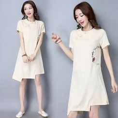 Diosa - Embroidered Linen Cotton Short-Sleeve Dress