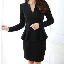 Aikoo - Long-Sleeve Peplum Dress