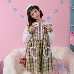 Angel Love - Cat Embroidered Collared Plaid Panel Long Sleeve Dress