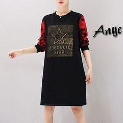 VIZZI - 迷彩袖貼布繡套衫連衣裙