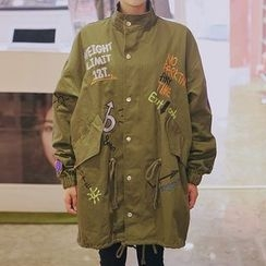 icecream12 - Lettering Embroidered Parka