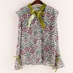 11.STREET - Bow Print Long-Sleeve Blouse