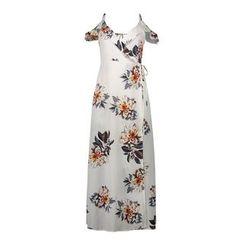 LIVA GIRL - Floral Print Off Shoulder Short Sleeve Maxi Dress