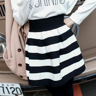 Tokyo Fashion - Striped Pleated A-Line Skirt