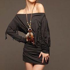 Rocho - Long-Sleeve Fringe Accent Dress