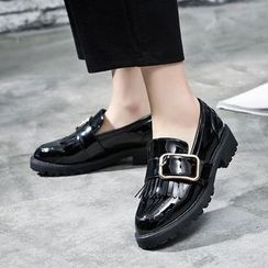 VIAN - Patent Fringed Round Toe Loafers