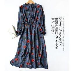 Helensky - Floral Print Long-Sleeve Chiffon Dress