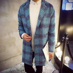 Ekinbrown - Plaid Woolen Long Coat