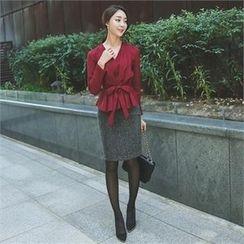 ode' - Frill-Trim Pencil Skirt with Belt