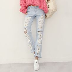 DANI LOVE - Distressed Straight-Cut Jeans