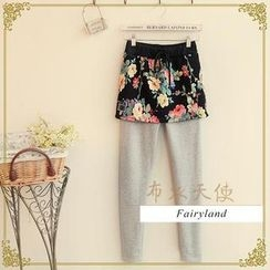 Fairyland - Inset Floral Skirt Fleece-Lined Leggings