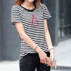 Zyote - Letter Stripe Short-Sleeve T-shirt