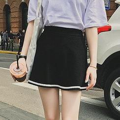 Fashion Street - Stripe Trim A-Line Skirt