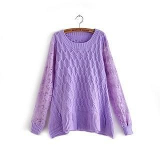 JVL - Lace-Sleeve A-Line Sweater