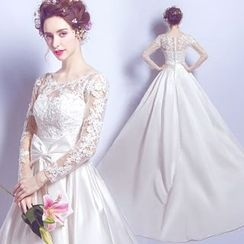 Angel Bridal - Bow-Accent Lace Wedding Dress