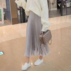 Seoul Fashion - Pleated Satin Long Skirt
