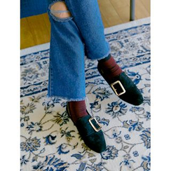 FROMBEGINNING - Buckled Faux-Suede Loafers