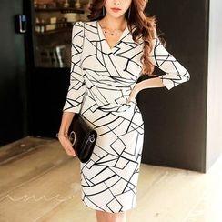 Aurora - Long-Sleeve Printed Dress