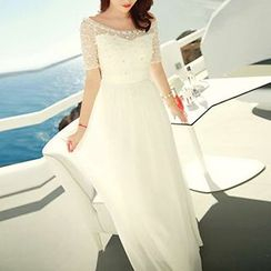 Dimanche - Embellished Short-Sleeve Evening Gown