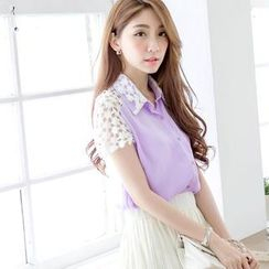 Tokyo Fashion - Short-Sleeve Lace-Panel Chiffon Blouse