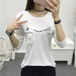 Cottony - 长袖刺绣圆领T恤