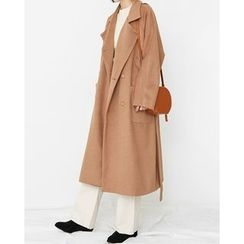 Someday, if - Wool Blend Long Coat with Sash