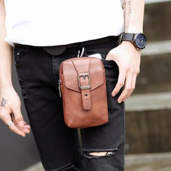 BagBuzz - Buckled Faux Leather Crossbody Mobile Pouch