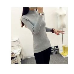 anzoveve - Plain Mock-neck Knit Top