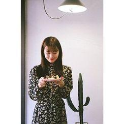 CHERRYKOKO - Frill-Neck Floral Pattern Shirtdress with Sash