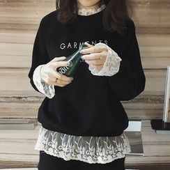 Little V - Lace Panel Letter Embroidered Pullover