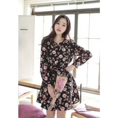 MyFiona - Floral Print Long-Sleeve Dress