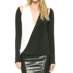 Obel - Cutout Color Block Long-Sleeve Top