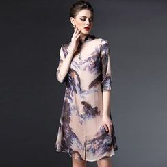 Elabo - Printed Frill Collar Midi Dress