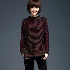 LANA - 高领条纹针织上衣