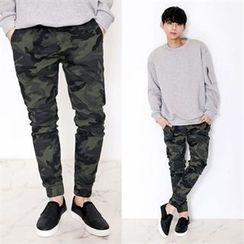 TOMONARI - Drawstring-Waist Camouflage Jogger Pants