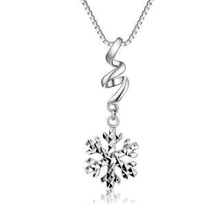 MaBelle - 14K White Gold Diamond-Cut Snow Flake Necklace (16'')