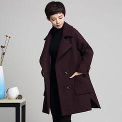 艾雨晴 - 雙排扣長款羊毛大衣