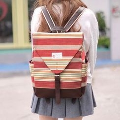 SUPER LOVER - 扣带条纹帆布背包