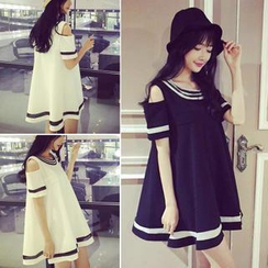 QZ Lady - Cutout-Sleeve Contrast-Trim Babydoll Dress