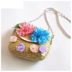 Sunset Hours - Rosette Straw Crossbody Bag