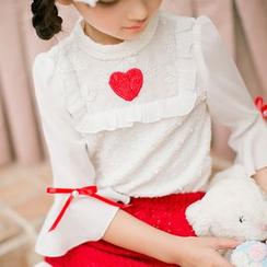 糖果雨 - 小童七分袖蕾丝衬衫