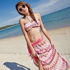 小桃泳衣 - 游泳套裝: 比基尼上衣 + 下著 + 外罩裙