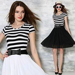 lilygirl - Stripe Short-Sleeve Chiffon Dress