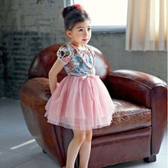 Cuckoo - Kids Floral Print Short-Sleeve Tulle Dress
