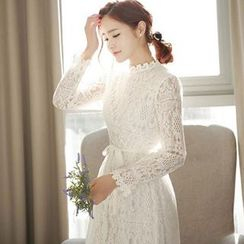 Lovebirds - Long-Sleeve Lace Midi Dress