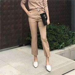 LIPHOP - Boot-Cut Dress Pants with Belt
