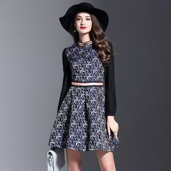 Y:Q - Long-Sleeve Printed A-Line Dress