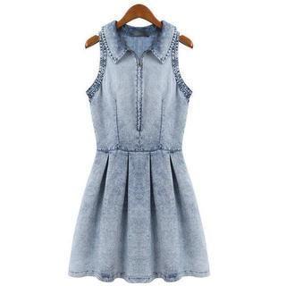 JVL - Sleeveless Washed Denim Dress